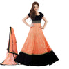 Indian Designer Peach and Dark Blue Net and Velvet Abaya Style Churidar Kameez