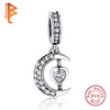 Luxury 925 Sterling Silver CUBIC ZIRCONIA Moon Heart Pendants and Charms fit Bracelet Jewelry Free + Shipping