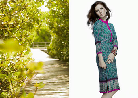 Green Color Designer Kurti with 3/4 sleeves