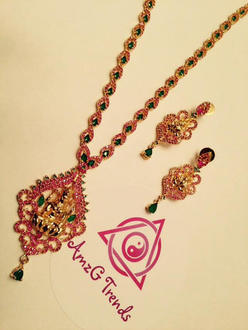 Ruby Stone Necklace set with Lakashmi