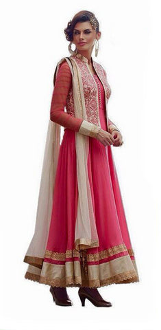 Indian Designer Pink and Cream Net Anarkali Churidar Kameez