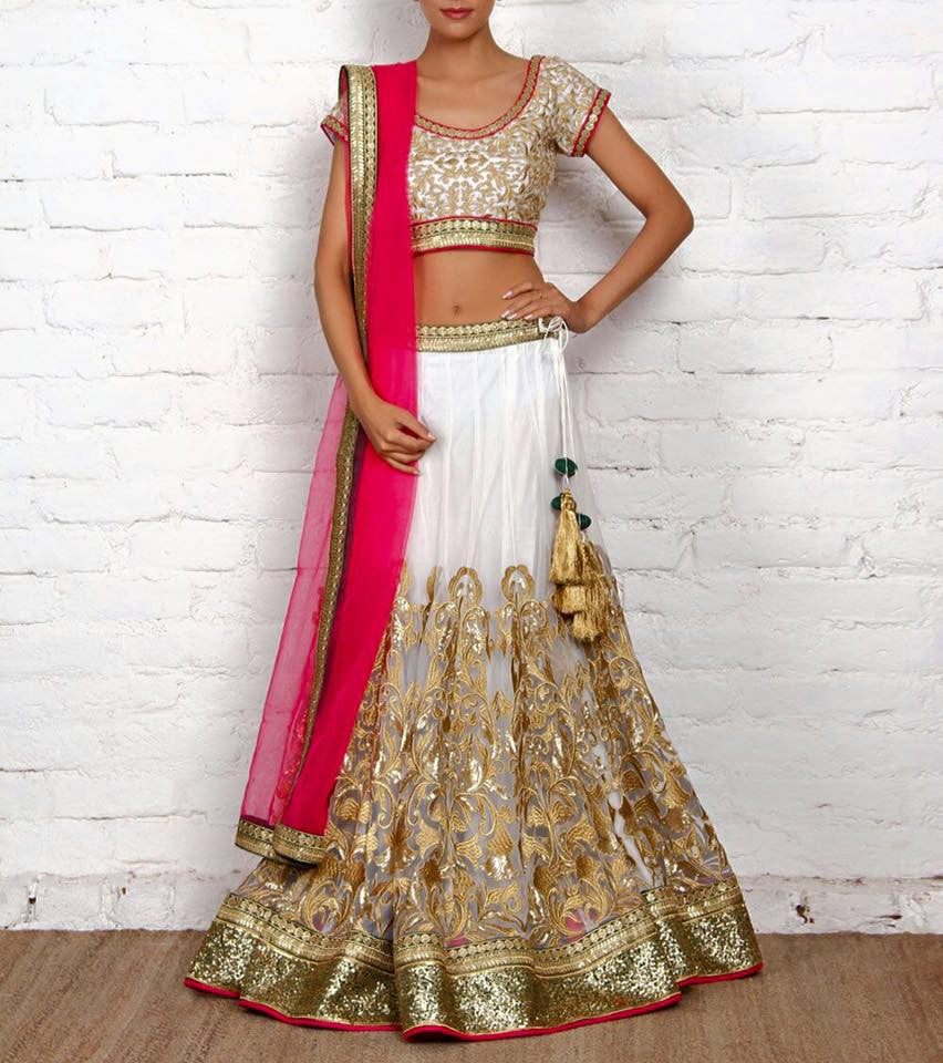 Indian Designer Net Lahenga, Brocade Blouse & Net Dupatta