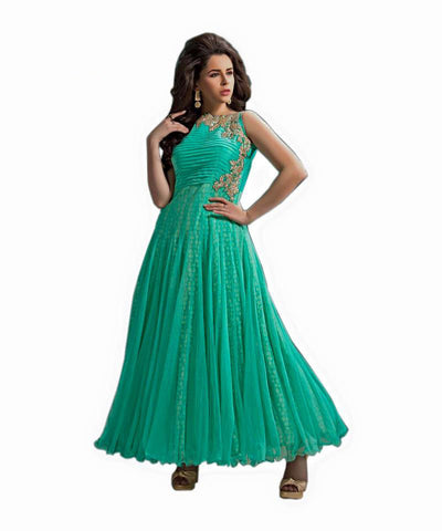 Indian Designer Green Net Churidar Kameez