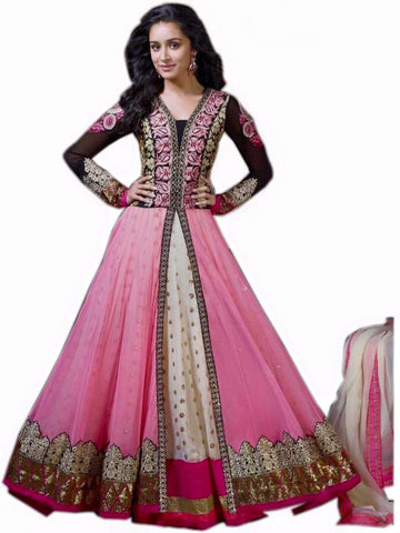 Indian Designer Pink Cream Georgette Abaya Style Churidar Kameez