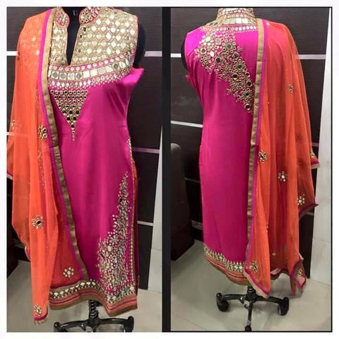 Heavy faux Georgette Salwar with heavy hand work