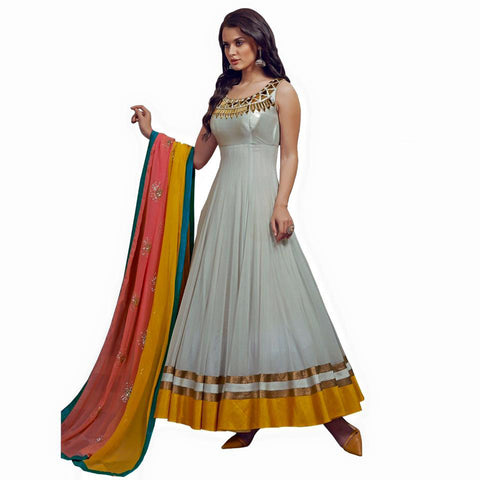 Indian Designer Shaded Off White Georgette Anarkali