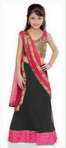 Kids Designer  Black Net Readymade Lehenga Choli with Dupatta