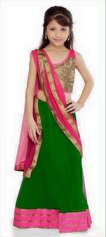 Indian Designer Green Readymade Lehenga Choli with Dupatta