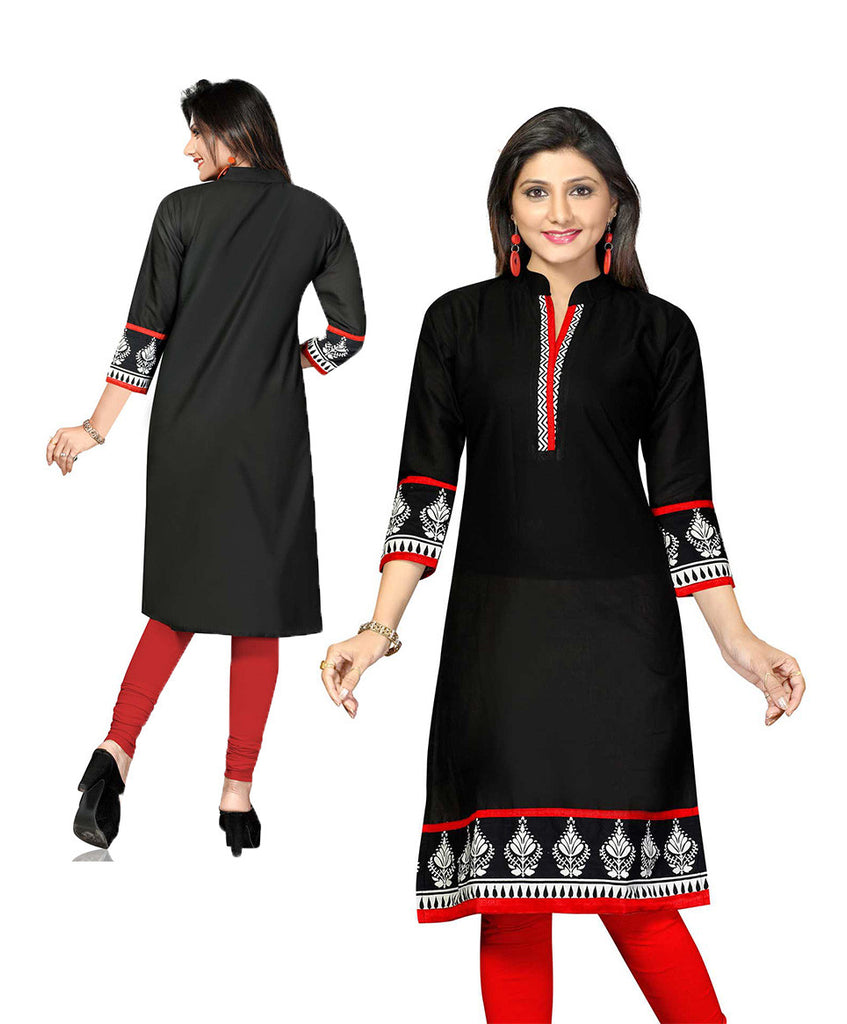 Indian Kurti_Black_Printed_1