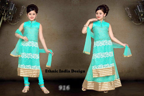 Turquoise Readymade Exclusive Designer Girls  Frock