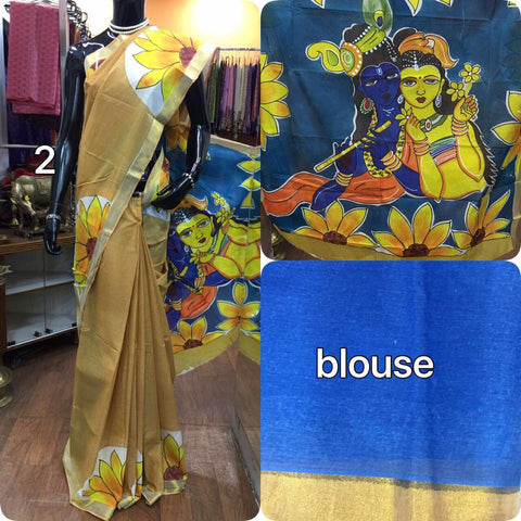 Soft Cotton Saree with Radha Krushan Print