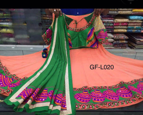Peach Soft Georgette Lehnga With Green Blouse