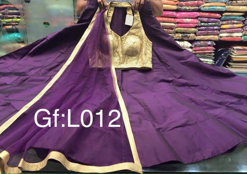 Purple Tapeta Silk Lehnga With gold Blouse
