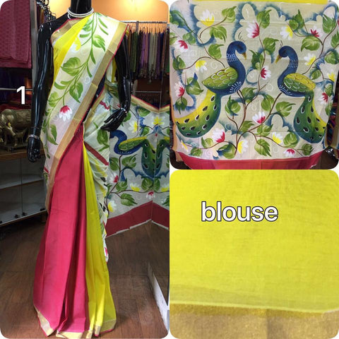 Soft Cotton Saree with Nature Beauty  Print