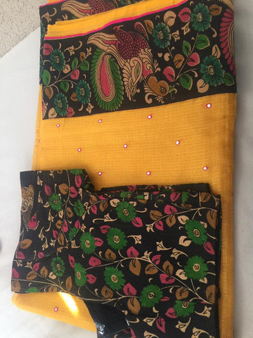 Yellow Kota Silk with Kalankari Patch work  Saree