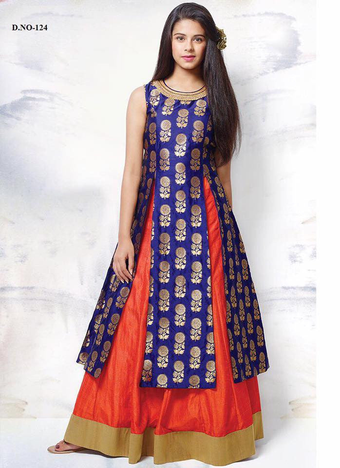 Blue with Orange Sharara