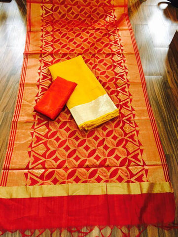 Red Banarsi dupptta With Yellow Chanderi Silk top  and Red Shantoon bottom