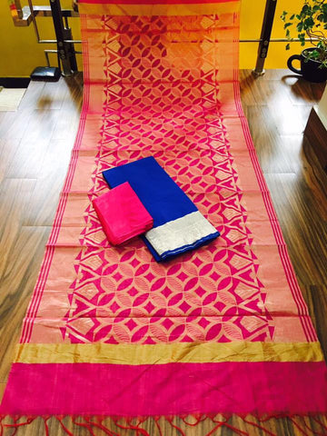 Pink Banarsi dupptta With Blue Chanderi Silk top  and Pink Shantoon bottom