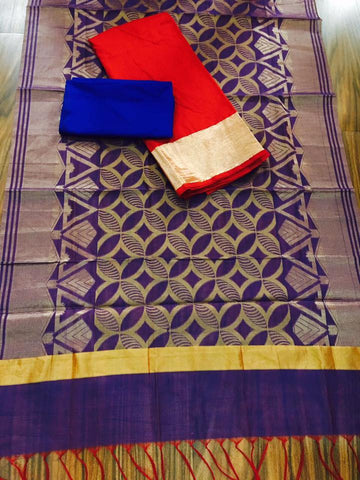 Purple  Banarsi dupptta With Red Chanderi Silk top  and Blue Shantoon bottom