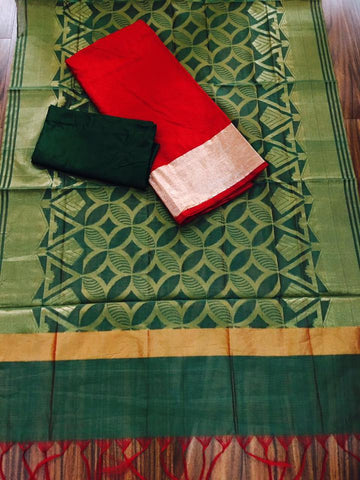 Green Banarsi dupptta With Red Chanderi Silk top  and Green Shantoon bottom