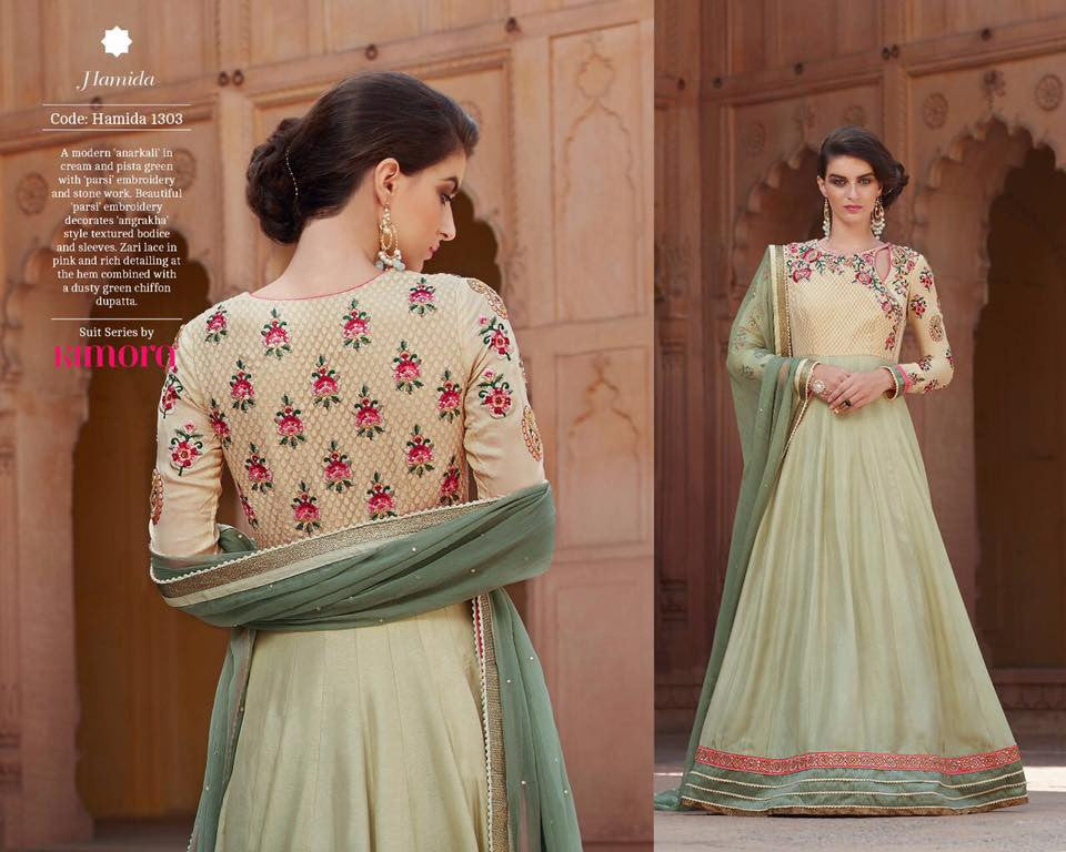 Pure Chiffon Dupatta with Cream Silk  Georgette with Embroidered