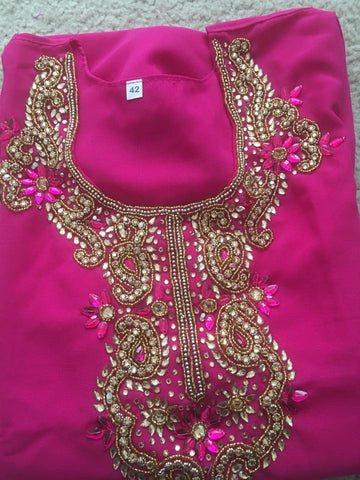 Pink Georgett  Designer Kurti with  3/4sleeves