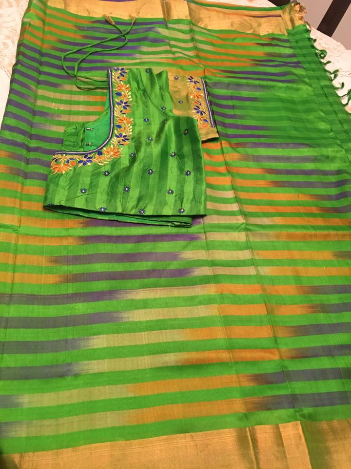 Green Uppada Saree with Lines and Ready to Wear Blouse