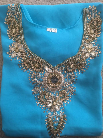 Sea Blue Georgett  Designer Kurti with  3/4sleeves