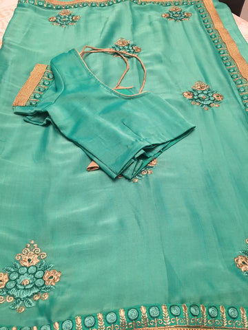 Green Silk Saree With Embroided and Ready to Wear Blouse