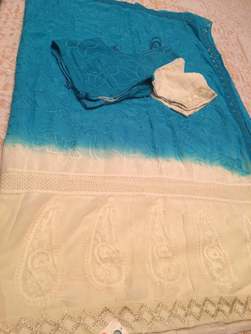 Fancy Blue And White Saree With Embroided and Ready to Wear Blouse