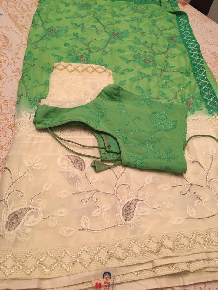 Fancy Green And White Saree With Embroided and Ready to Wear Blouse