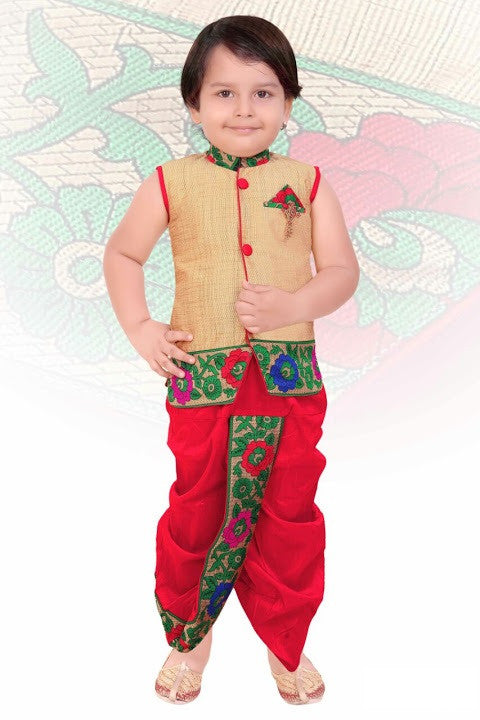 Indian Boys Red Kurta Set