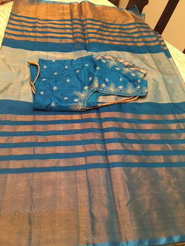 Blue Uppada Saree With Embroided and Ready to Wear Blouse