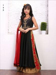 Black Color Taffera Silk Fabric Readymade Kids Girl Lehenga Choli