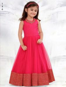 Party Wear Pink Net Embroidered Work Kids Anarkali Suit