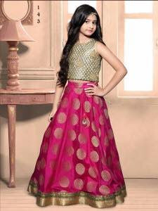 Pink Color Heavy Banarasi Brocade Fabric Readymade Kids Girl Gowns.