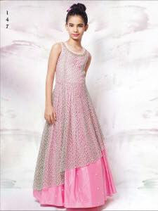 Party Wear White Net Lace  Work kids Wear Gown