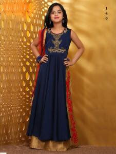 Nevvy Blue Color Taffera Silk Fabric Readymade Kids Girl Lehenga Choli.