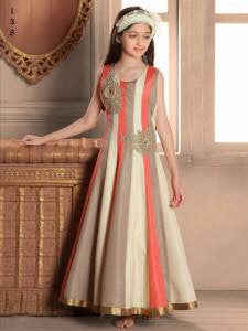 Multi Colour Banarasi Silk Embroidered Work Kids Anarkali Suit