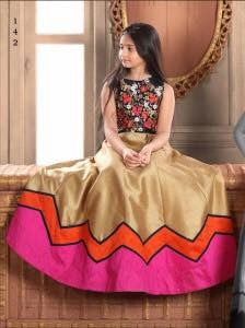 Party Wear Golden Banglori Silk Embroidered Work Kids Gown