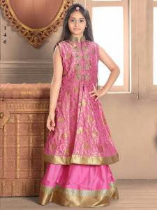 Rose Pink Color Taffeta Jacquard Fabric Readymade Kids Girl Lehenga Choli