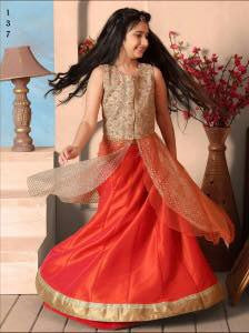Orange Color Mononet GlitterFabric Readymade Kids Girl Lehenga Choli