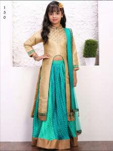 Gold with Teal Blue  Center Slit Long Choli Lehenga