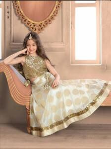 Off White  Color Banglory Silk Fabric Readymade Lehenga
