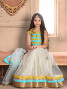 Sky Blue Color Bhagalpori Silk Fabric Readymade Kids Girl Lehenga Choli.