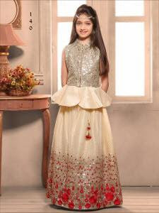 Golden Banglori Silk Embroidered Work Kids Lehenga Choli