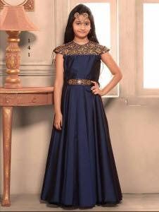 Party Wear Neavy Blue Taffeta Silk Embroidered Work Kids Gown