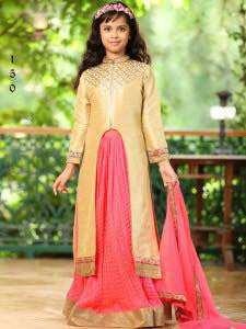 Gold with Peach Pink Center Slit Long Choli Lehenga