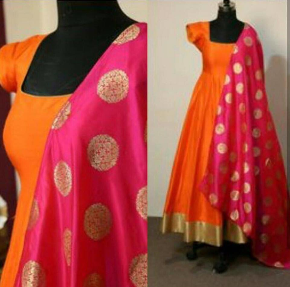 Exclusive Orange  Color Long Suit Tapeta silk  with jaquard