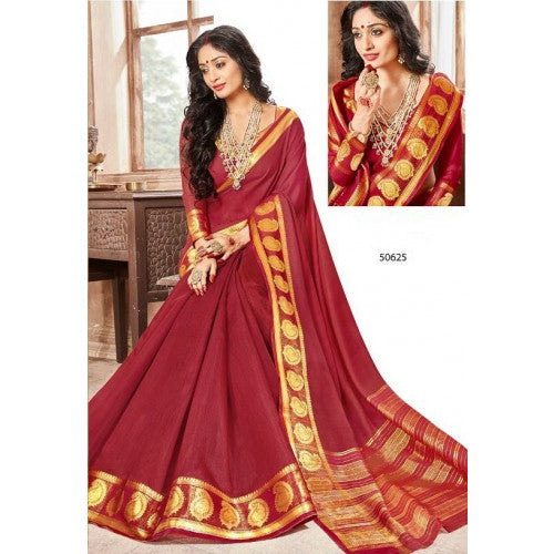 Red Khadi Cotton Silk Saree